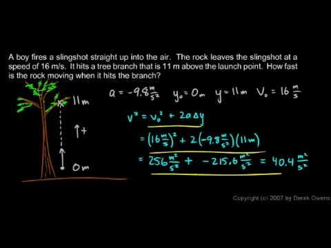 Physics 2.7.4i - Falling Bodies - A Boy Fires a Slingshot