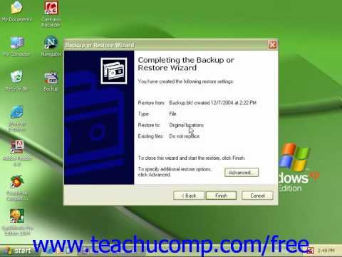 Windows XP Tutorial Restoring a Backup in Windows Vista Microsoft Training Lesson 2.7