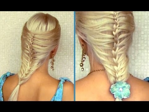 Romantic summer hairstyle for medium long hair French cage / mermaid braid tutorial