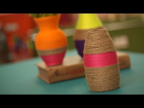 String Wrapped Vases DIY: How to Make Yourself || KIN DIY