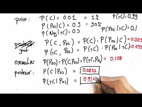 Normalizing 4 Solution - Intro to Statistics - Bayes Rule - Udacity