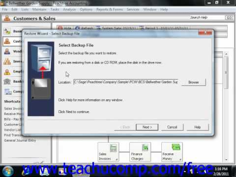 Peachtree Tutorial Restoring from a Backup File Sage Training Lesson 2.10