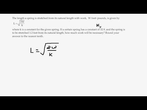Story Problem Involving Radical Equation and Length of a Spring