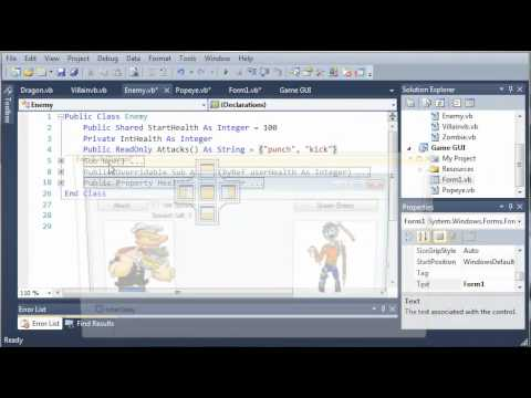 Visual Basic Tutorial - 155 - Game Part 11   Fixing The Health Logic Error