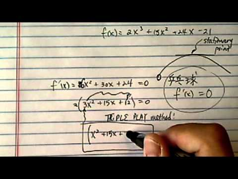 Stationary Points: f(x)=2x^3+15x^2+24x-21