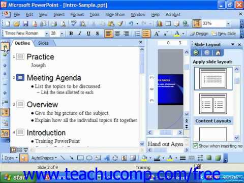 PowerPoint 2003 Tutorial Promoting & Demoting Text Microsoft Training Lesson 21.2