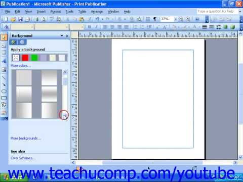 Publisher 2003 Tutorial Applying Backgrounds Microsoft Training Lesson 9.2