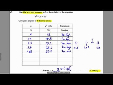 Trial and Improvement 2 (GCSE Higher Maths): Exam Qs 2