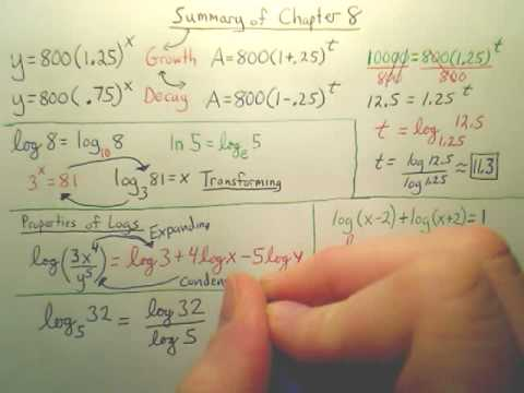 Summary of Chapter 8(Log & Exp Equations) - Algebra 2