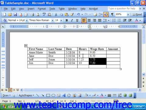 Word 2003 Tutorial Inserting Formulas Microsoft Office Training Lesson 18.2