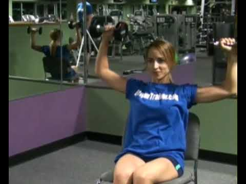 Shoulder Press, Seated Chair, Alternating, Dumbbells : BeYourTrainer.com