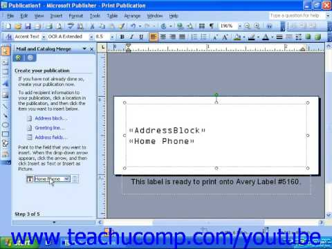 Publisher 2003 Tutorial Merging Data with a Publication Microsoft Training Lesson 11.13