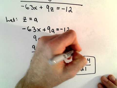 Solving a System of 2 Equations with 3 Unknowns - Infinitely Many Solutions