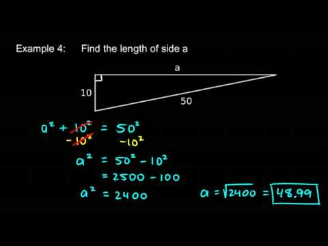 Prealgebra 5.7e - Pythagorean Theorem Examples
