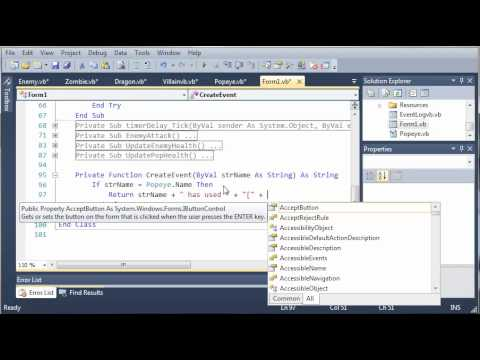 Visual Basic Tutorial - 157 - Game Part 13   Creating Log Events