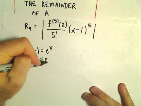 Taylor's Remainder Theorem - Finding the Remainder, Ex 1
