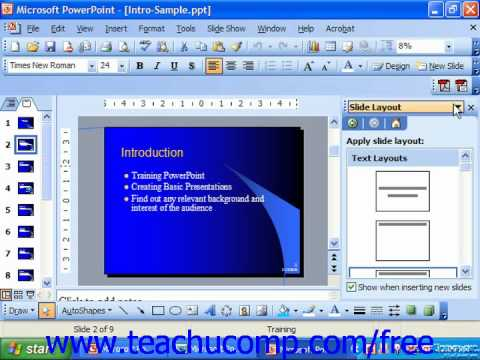 PowerPoint 2003 Tutorial Applying a Slide Layout Microsoft Training Lesson 2.6