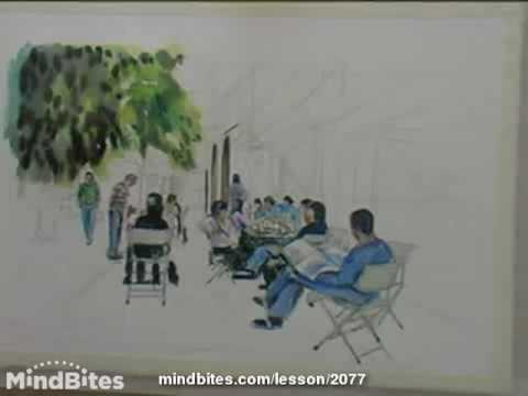Painting with watercolors (Cafe Scene) - Painting the background