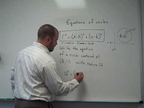 Writing the equation of a circle when given the center and radius