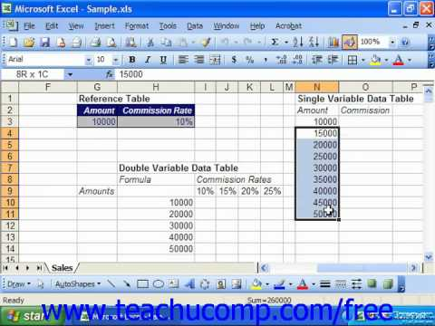 Excel 2003 Tutorial Structuring a Single variable Data Table Microsoft Training Lesson 29.3
