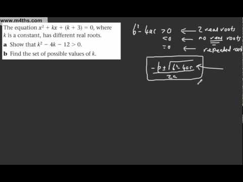 (16) Core 1 AS maths - Edexcel Algebra Review 1 - Quadratic inequalities with 'k' the constant