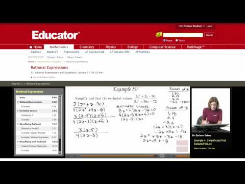 Algebra: Excluded Values (Rational Expressions)