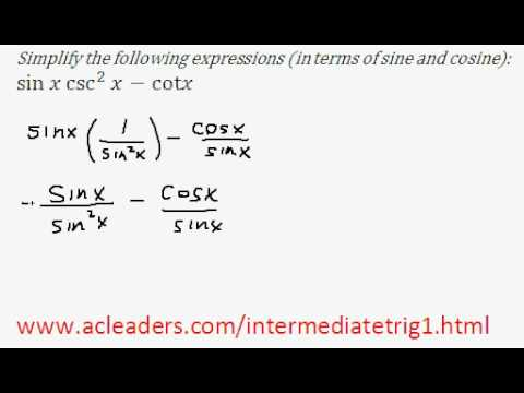 Simplifying trig expressions - Pt. 1 (EASY!!!!!)