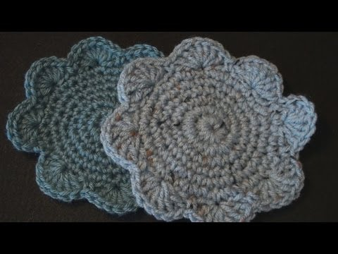 Crochet Coaster with Shell Edging - Left Hand
