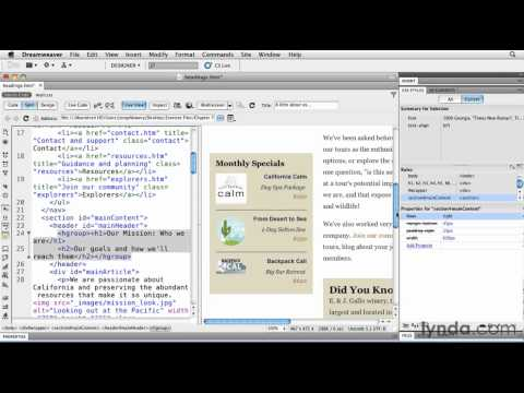 How to wrap HTML5 headings in Dreamweaver | lynda.com tutorial