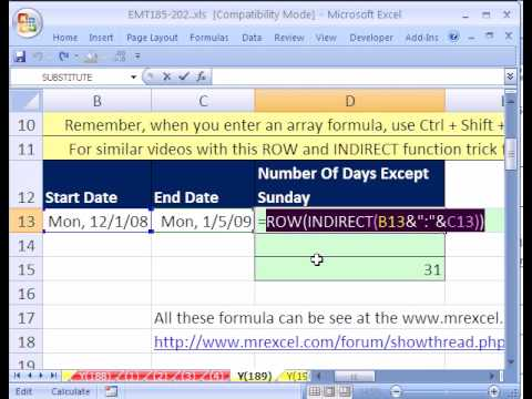 Excel Magic Trick #189: Count Days Not Sunday