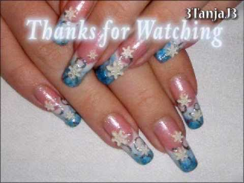 Christmas/Winter #6: *Elegant Snowflakes* Easy 3D Acrylic Nail Art Design