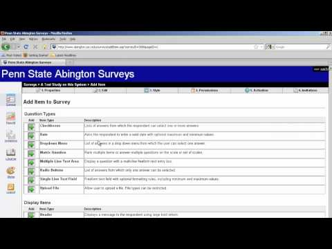 Penn State Abington Surveys - Video 3 More on Add Items