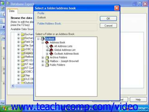 Crystal Reports Tutorial Legacy Exchange Business Objects Training Lesson 2.12