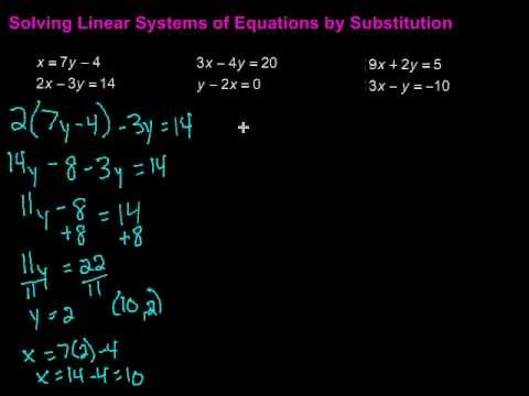 Solving Linear Systems of Equations by Substitution