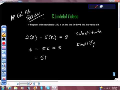 AP Calculus AB Review Basic Algebra Points on a Line