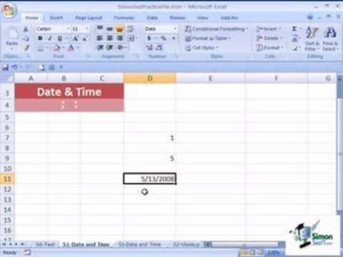 How to Use the Date and Time Function In Excel 2007