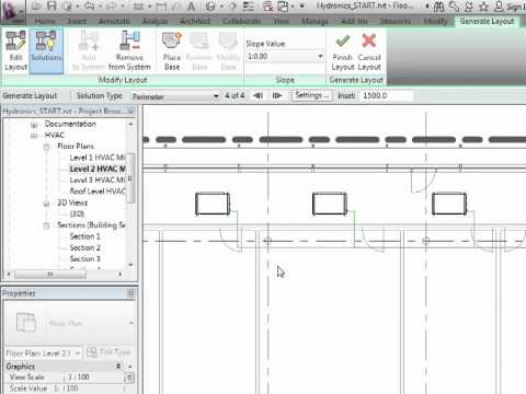 Revit MEP 2012 Tutorial - Hydronic Piping: Automatic Pipe Layouts