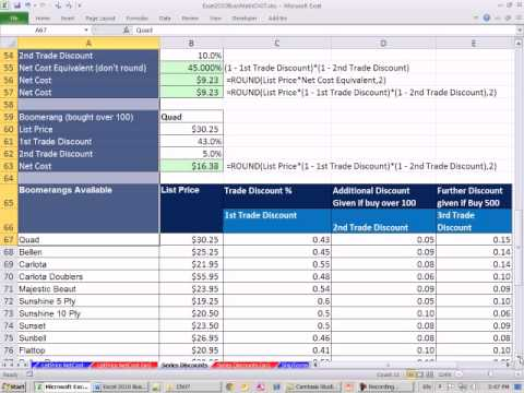 Excel 2010 Business Math 58 Calculating Series Trade Discounts, Net Cost Equivalent, Net Cost