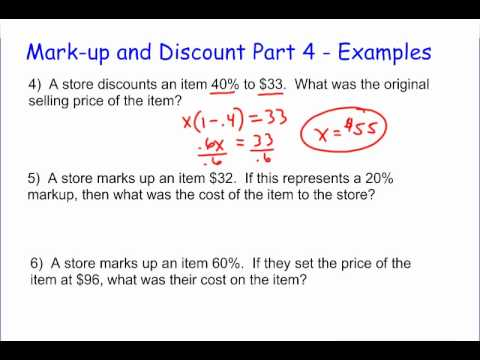 Markup and Discount Part 4 - More Examples