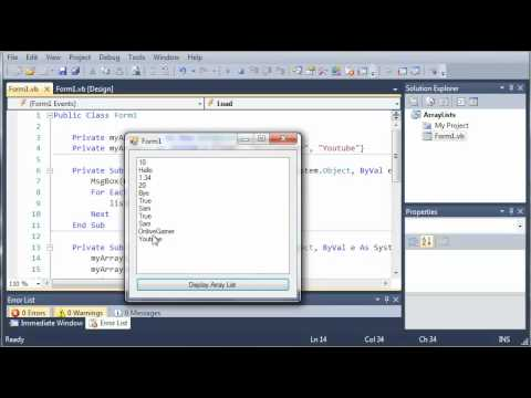 Visual Basic Tutorial - 82 - More On ArrayLists Part 3