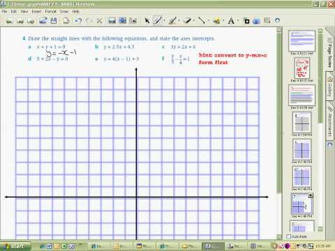 Exercise 1.1 Hints Graphing Linear Equations Part A