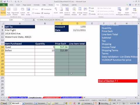 Excel 2010 Business Math 61: Create An Invoice In Excel