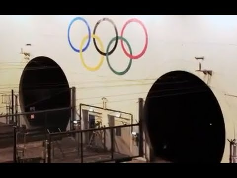 Giant Olympic Rings unveiled at Channel Tunnel (London 2012)