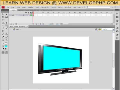 Flash CS4 Tutorial - Distort or Skew Video Perspective in Flash AS 3.0 - 3D Rotation Tool