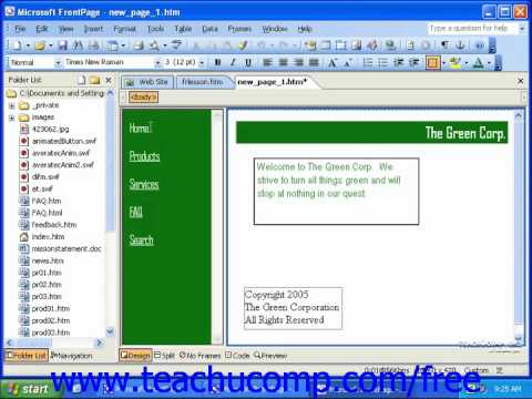 FrontPage Tutorial Editing Frame Content Microsoft Training Lesson 12.3