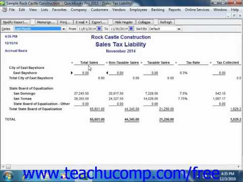 QuickBooks 2011 Tutorial Sales Tax Reports Intuit Training Lesson 14.1