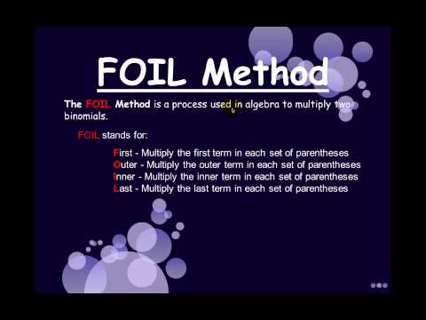 Solving Problems Using The FOIL Method by Kevin MST
