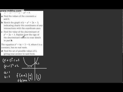 (11) Core 1 AS maths - Edexcel Algebra Review 1 - Discriminant Problem 3 - exam question