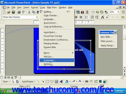 PowerPoint 2003 Tutorial Setting the Spelling Options Microsoft Training Lesson 8.1