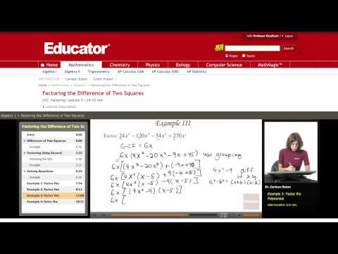 Algebra: Factoring Difference of Two Squares